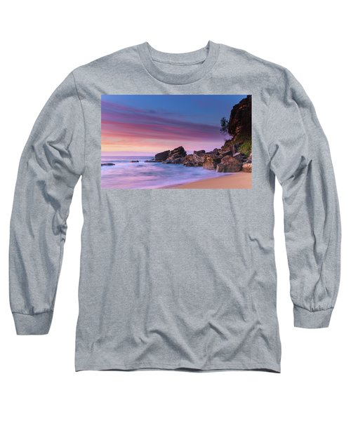 Pink Clouds And Rocky Headland Seascape Long Sleeve T-Shirt