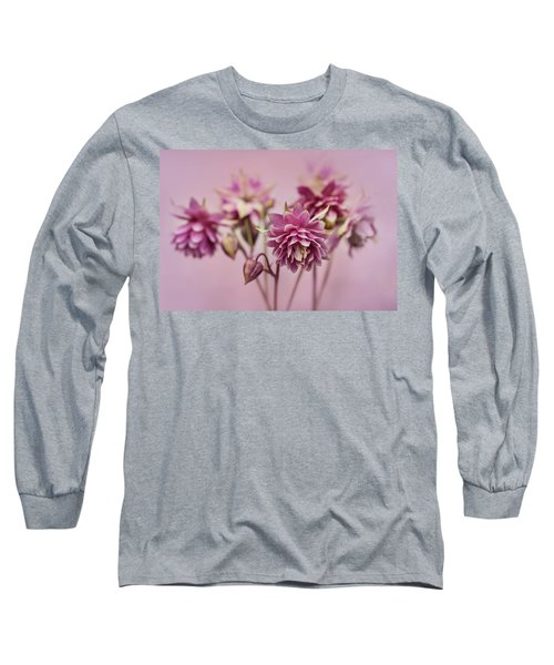 Long Sleeve T-Shirt featuring the photograph Pink Columbines by Jaroslaw Blaminsky