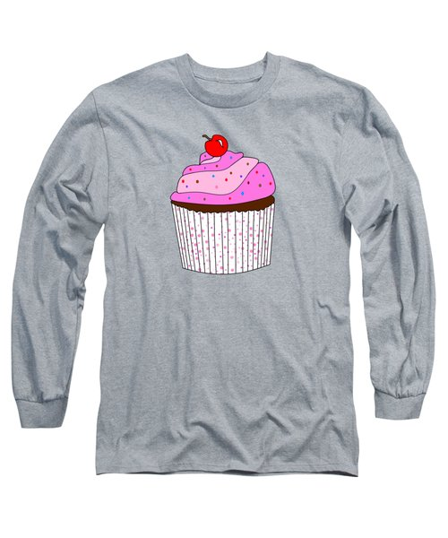 Pink Cupcake With Sprinkles - Food Illustration Long Sleeve T-Shirt