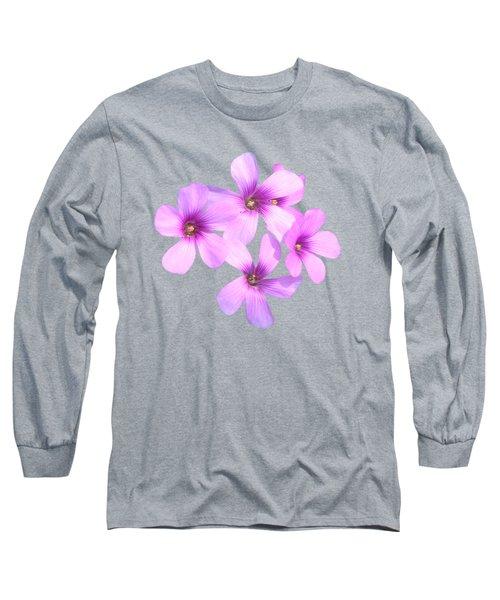 Pink Cutout Flowers Long Sleeve T-Shirt