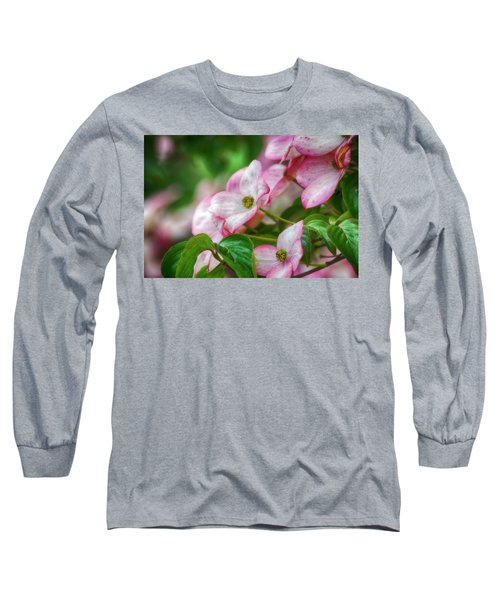 Pink Dogwood Long Sleeve T-Shirt by Bonnie Bruno