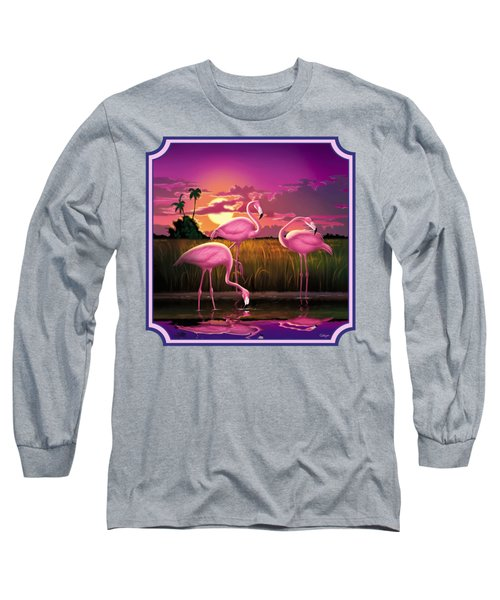 Pink Flamingos At Sunset Tropical Landscape - Square Format Long Sleeve T-Shirt by Walt Curlee