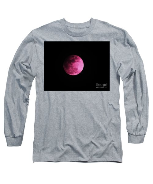 Long Sleeve T-Shirt featuring the photograph Pink Full Moon In April 2017 by J L Zarek