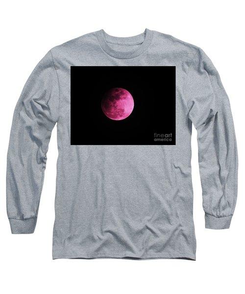 Pink Full Moon In April 2017 Long Sleeve T-Shirt by J L Zarek