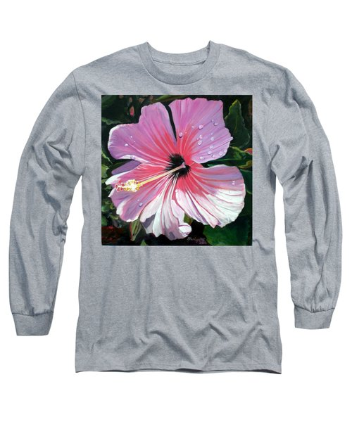Pink Hibiscus With Raindrops Long Sleeve T-Shirt