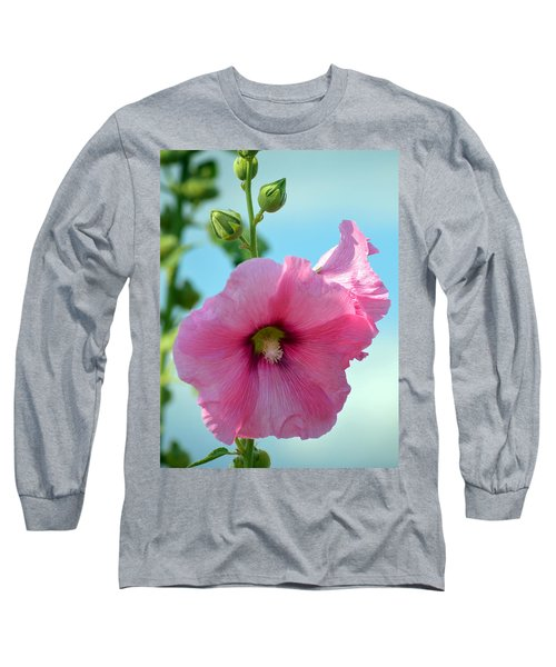 Pink Holyhock. Long Sleeve T-Shirt by Terence Davis