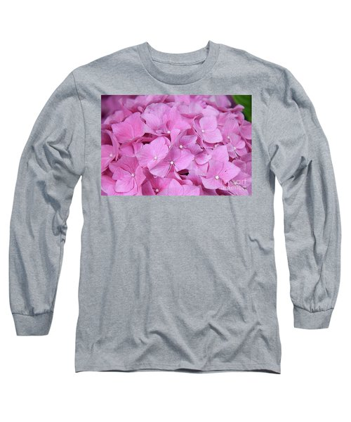 Pink Hydrangea Long Sleeve T-Shirt by Elvira Ladocki