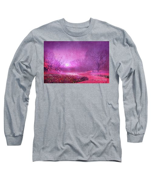 Long Sleeve T-Shirt featuring the painting Pink Landscape by Tithi Luadthong