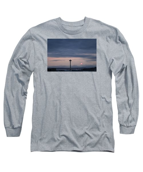Pink Moon Setting Long Sleeve T-Shirt by Suzanne Lorenz