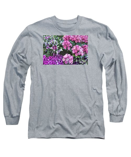 Pink, Purple And Lillies Long Sleeve T-Shirt