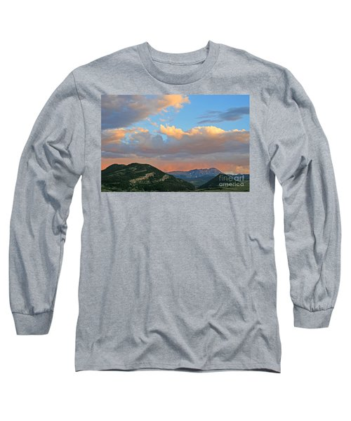Long Sleeve T-Shirt featuring the photograph Pink Rain Over The Sleeping Indian by Paula Guttilla