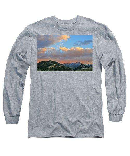 Pink Rain Over The Sleeping Indian Long Sleeve T-Shirt by Paula Guttilla