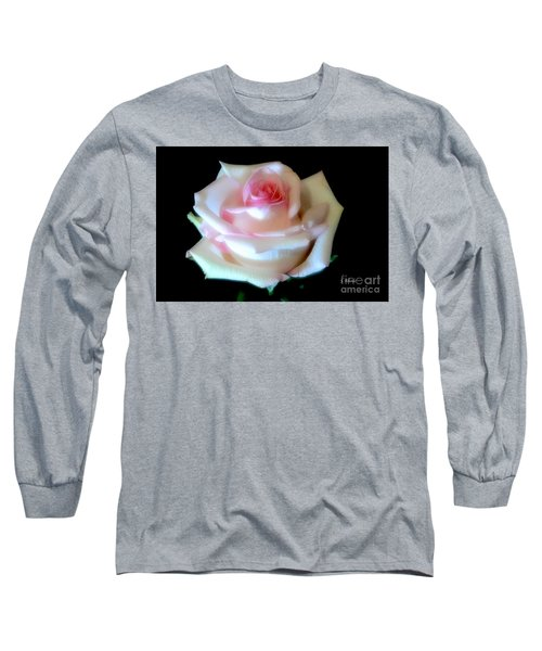 Pink Rose Bud Long Sleeve T-Shirt by Jeannie Rhode