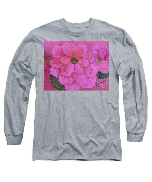 Pink Rose Flowers Long Sleeve T-Shirt