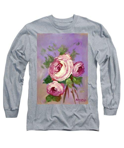 Pink Rose Long Sleeve T-Shirt by Janet Garcia