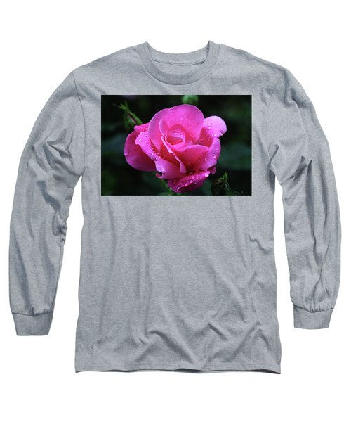 Pink Rose With Raindrops Long Sleeve T-Shirt