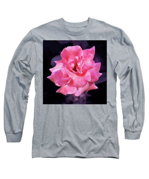 Pink Rose With Violet Long Sleeve T-Shirt