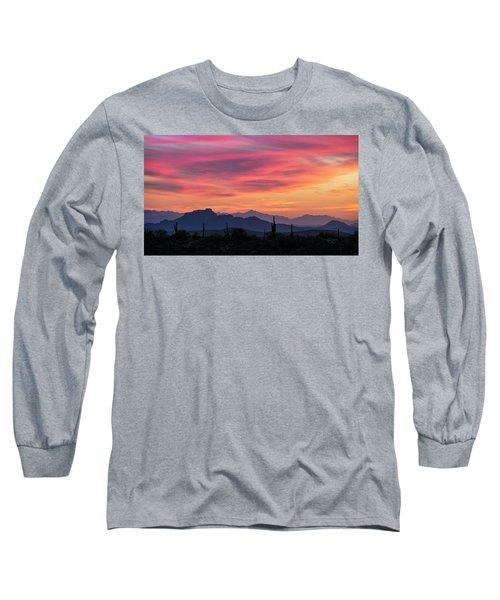 Long Sleeve T-Shirt featuring the photograph Pink Silhouette Sunset  by Saija Lehtonen