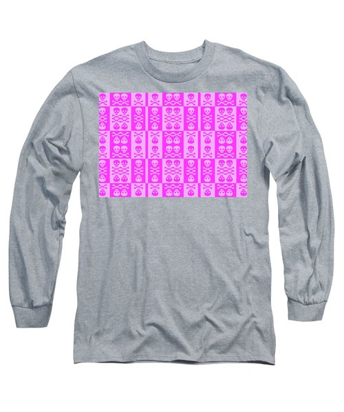Pink Skull And Crossbones Pattern Long Sleeve T-Shirt by Roseanne Jones