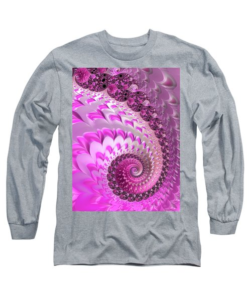 Pink Spiral With Lovely Hearts Long Sleeve T-Shirt