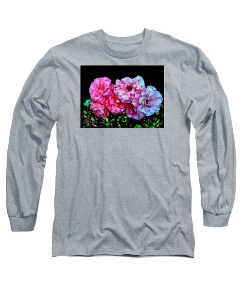 Long Sleeve T-Shirt featuring the photograph Pink - White Roses  by Sadie Reneau