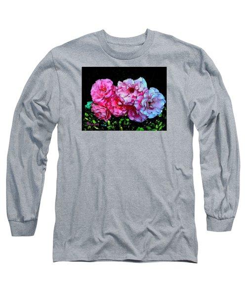 Pink - White Roses  Long Sleeve T-Shirt by Sadie Reneau