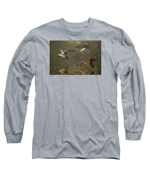 Long Sleeve T-Shirt featuring the photograph Pintail Ducks by Brian Tarr
