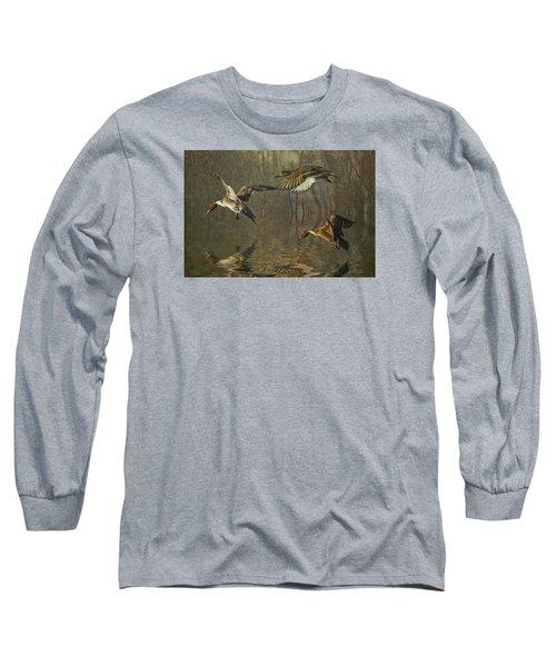 Pintail Ducks Long Sleeve T-Shirt by Brian Tarr