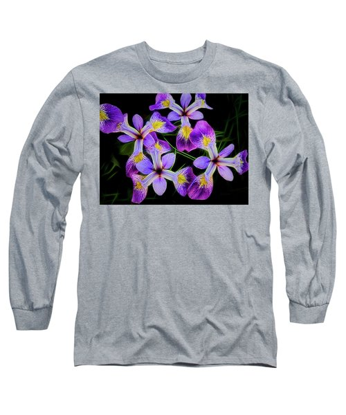 Pinwheel Purple Iris Glow Long Sleeve T-Shirt