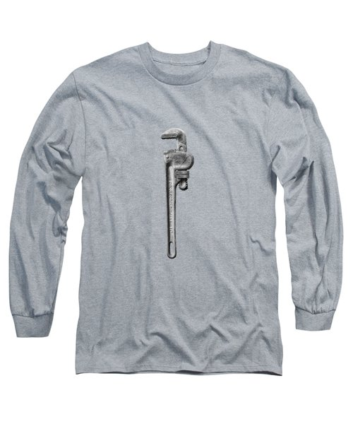 Pipe Wrench On Plywood 62 In Bw Long Sleeve T-Shirt