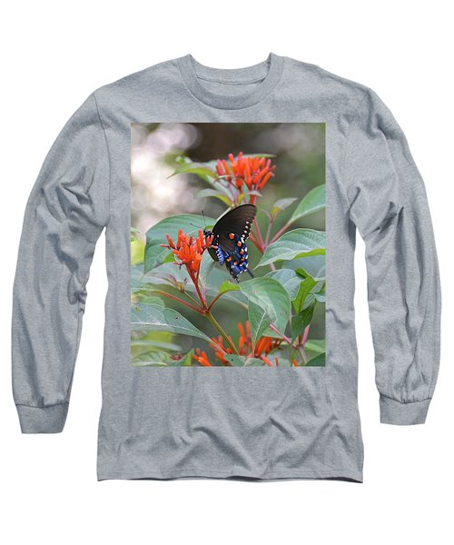 Pipevine Swallowtail Butterfly On Firebush Long Sleeve T-Shirt