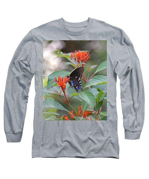Pipevine Swallowtail Butterfly On Firebush Long Sleeve T-Shirt