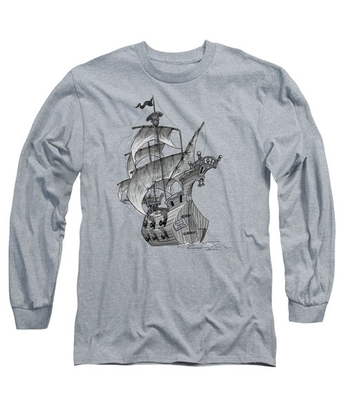 Pirate Ship Long Sleeve T-Shirt by Andy Catling