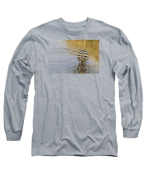 Long Sleeve T-Shirt featuring the tapestry - textile Plains Zebra by Kathy Adams Clark