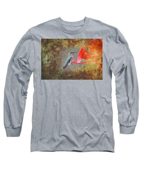 Plate 153 - Hummingbird Grunge Series Long Sleeve T-Shirt