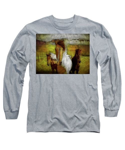 Long Sleeve T-Shirt featuring the photograph Plateau Ponies by Bellesouth Studio