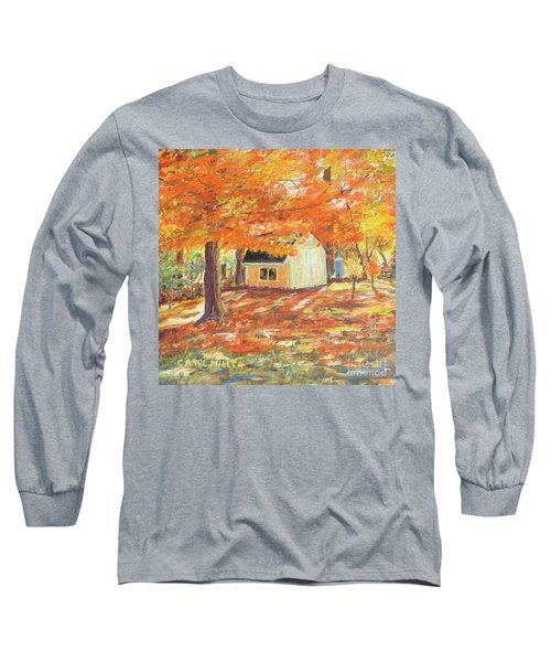 Playhouse In Autumn Long Sleeve T-Shirt by Carol L Miller