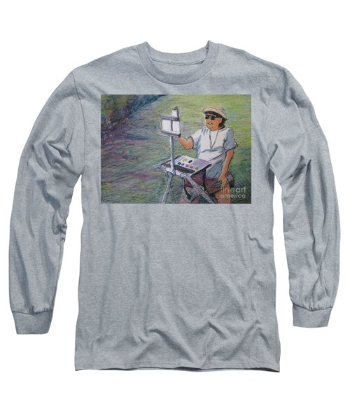 Long Sleeve T-Shirt featuring the painting Plein-air Painter Bj by Gretchen Allen