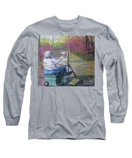 Long Sleeve T-Shirt featuring the painting Plein-air Painter Lady by Gretchen Allen