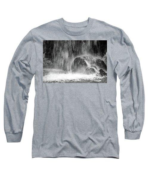 Plitvice Waterfall Black And White Closeup - Plitivice Lakes National Park, Croatia Long Sleeve T-Shirt