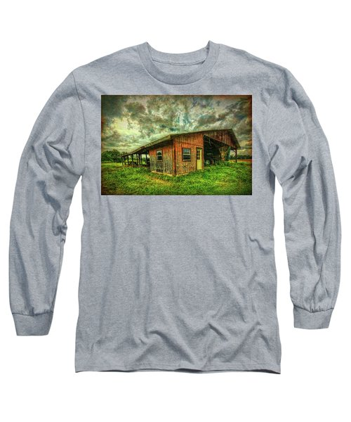 Long Sleeve T-Shirt featuring the photograph Pole Barn by Lewis Mann