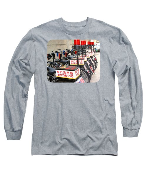 Police Bicycles Long Sleeve T-Shirt by Ethna Gillespie