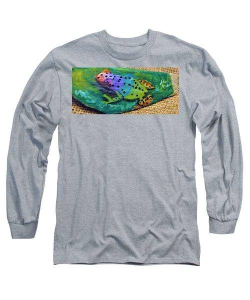 Polka-dotted Rainbow Frog Long Sleeve T-Shirt by Ann Michelle Swadener