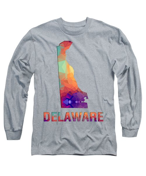 Polygon Mosaic Parchment Map Delaware Long Sleeve T-Shirt