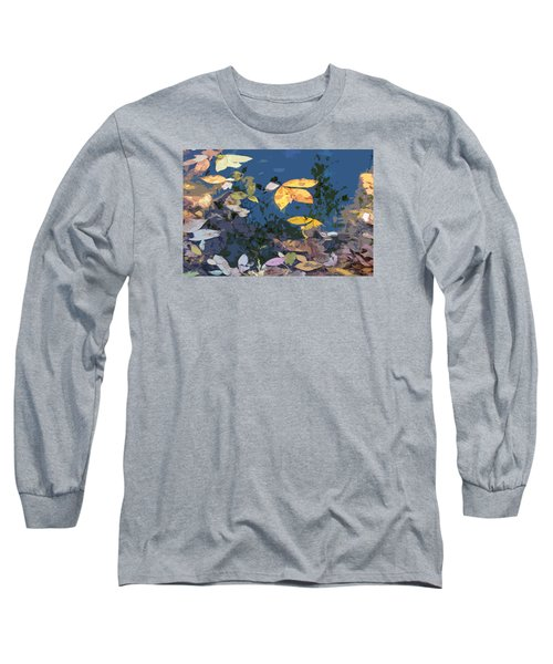 Long Sleeve T-Shirt featuring the photograph Autumn Leaves On The Pond by Spyder Webb