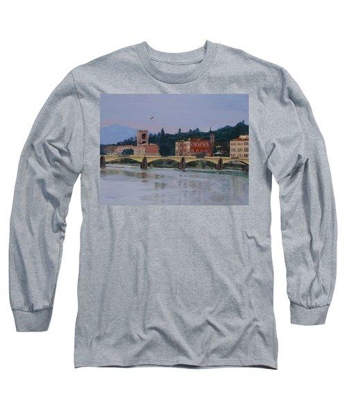 Pont Vecchio Landscape Long Sleeve T-Shirt by Lynne Reichhart