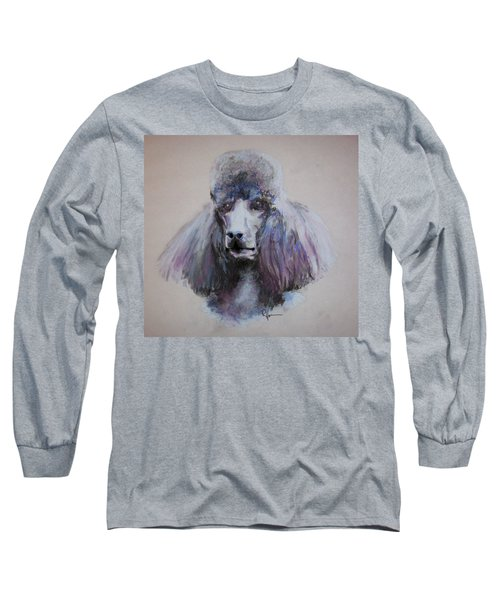 Long Sleeve T-Shirt featuring the drawing Poodle In Blue by Rachel Hames