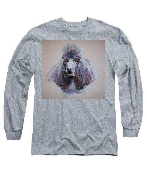Poodle In Blue Long Sleeve T-Shirt by Rachel Hames