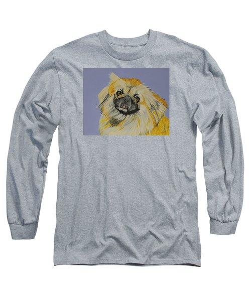 Long Sleeve T-Shirt featuring the painting Poopan The Pekingese by Hilda and Jose Garrancho