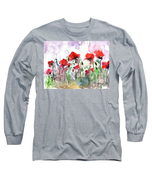 Long Sleeve T-Shirt featuring the painting Poppies by Faruk Koksal
